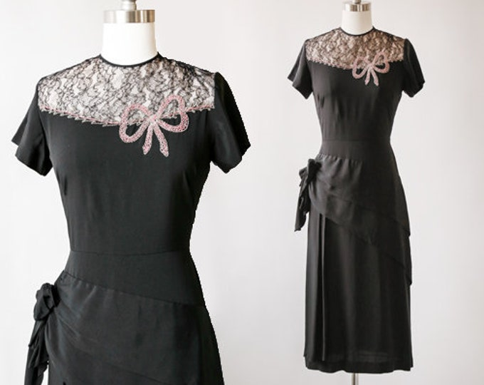 Holiday beaded bow dress | Vintage 40s black crepe bow dress | 1940s beaded lace dress