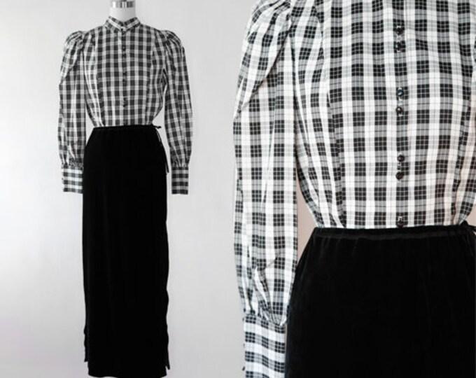 Puff sleeve blouse | Vintage 80s black + white  plaid blouse | Plaid dress shirt