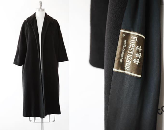 I. Magnin cashmere coat | Vintage 50s black cashmere wool swing coat jacket