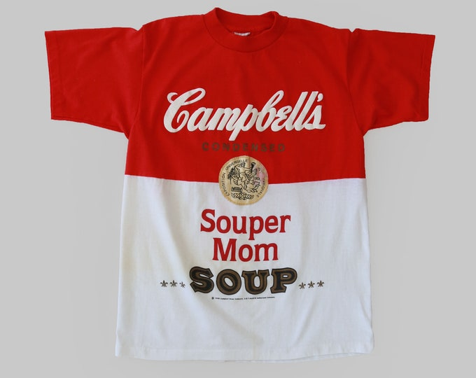 Campbell's soup novelty tee   RARE Vintage 1980s Campbell's soup Souper MOM T-Shirt   Andy Warhol style tee