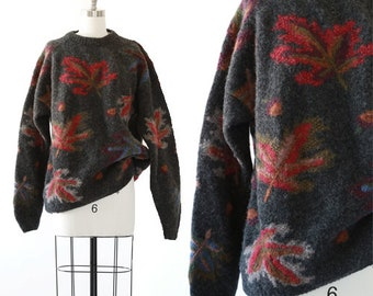 Autumn leaf sweater | Vintage 90s knit wool sweater | Hand knit Leaf sweater XL