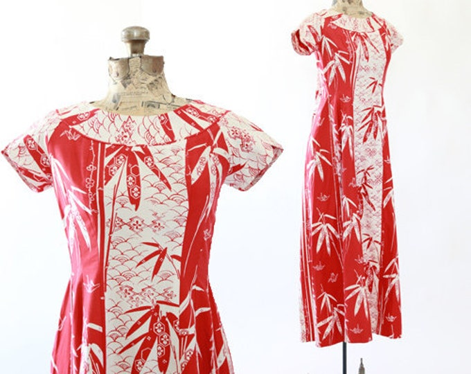 Origami bamboo Hawaiian dress | Vintage 60s Hawaiian Dress