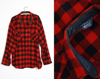 Vintage 70s WOOLRICH red buffalo Plaid Hunting Wool Mens shirt top