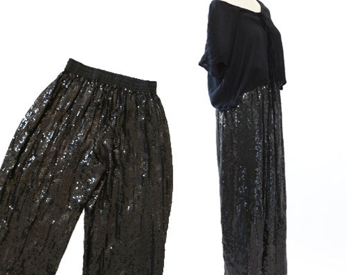 Baggy sequin pants | Pure silk sequin slacks | Vintage 80s black sequin pants