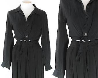 Tie Waist blouse | Vintage 90s Black crop tie blouse | Carole Little crop top