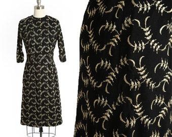 Falling Leaf dress | Vintage 50s 60s floral embroidered wiggle dress | Embroidered rayon dress