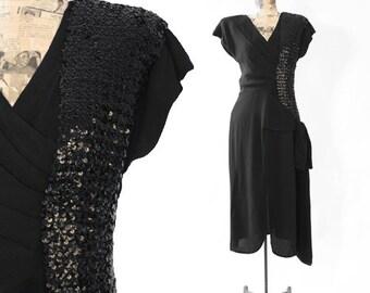 Flirty's 40s dress   Vintage 40s black sequin BOW dress
