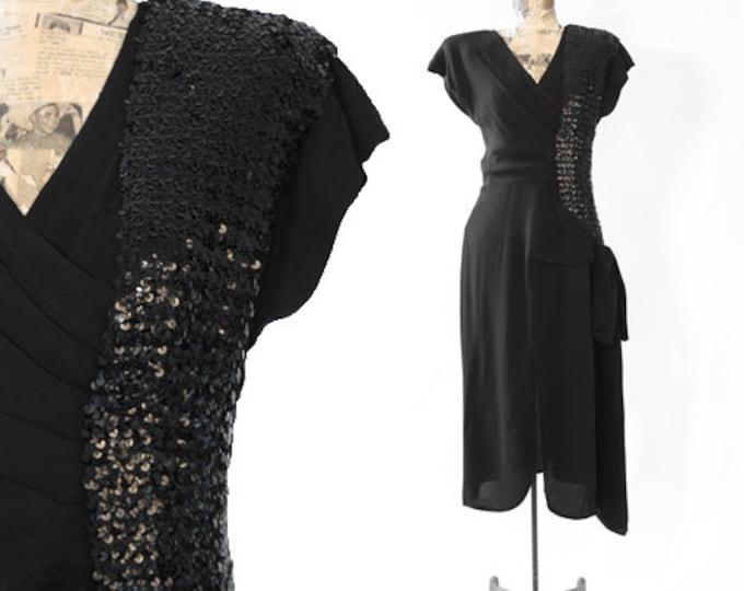 Flirty's 40s dress | Vintage 40s black sequin BOW dress
