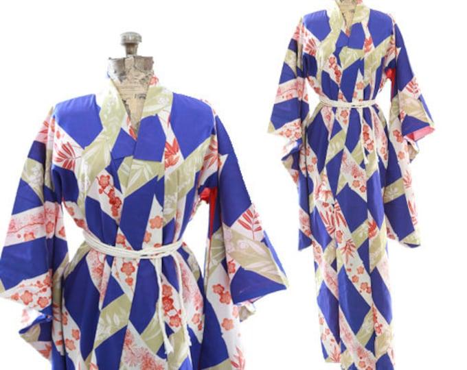 Antique 40s Blossom silk Kimono | SILK floral Japanese KIMONO | wedding Robe