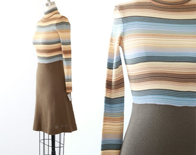 Vintage 70s striped knit sweater dress | deadstock 70s dress