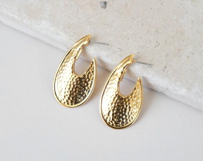 Hammered Gold hoops | Vintage 90s Ann Klein gold statement hoop earrings | hoop earring