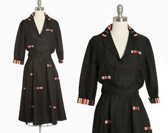Pattullo Jo Copeland dress | Vintage 40s 50s New Look black polished cotton dress | 1940s embroidered striped dress