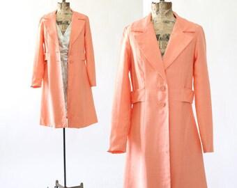Coral coat   Vintage 60s coral orange swing coat   1960s salmon coat