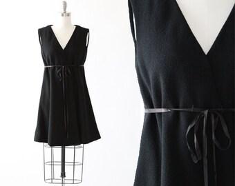 Inky wool Dress | Vintage 60s MOD black wool faux wrap mini dress