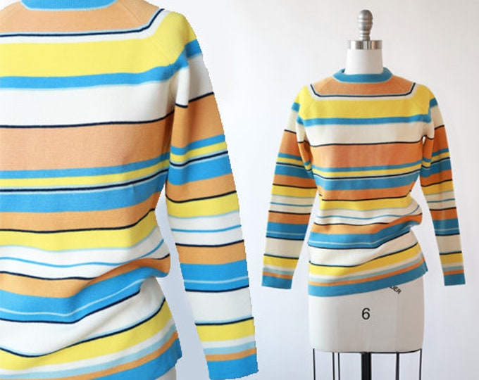 White Stag knit sweater | Vintage 60s 70s pastel striped knit sweater