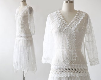 70s Edwardian dress   Vintage 70s 80s sheer white embroidered crochet floral lace Wedding dress
