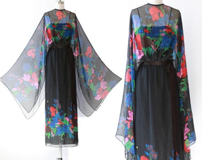 Chpriccio floral gown |  Vintage 60s 70s floral chiffon dress
