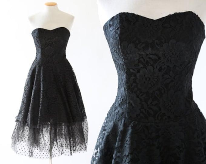 Tulle full skirt dress | Vintage 80s floral lace dress