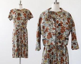 I. Magnin Atomic suit dress | Vintage 50s abstract dress | Mid century Modern 2pc dress jacket