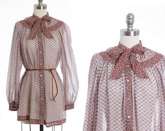 Gil Aimbez blouse | Vintage 70s ascot bow boho blouse | 1970s semi sheer deco puff sleeve blouse