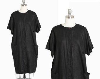Cocoon linen dress | Vintage 90s black linen minimalist dress | 1990s Avant Garde dress