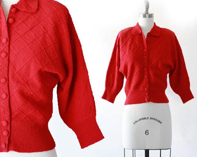 40s Jantzen Sweater | Vintage 40s cranberry wool knit sweater | 1940s diamond knit cardigan