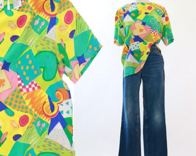 Casino heart silk blouse