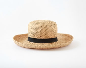 Vintage natural straw market hat