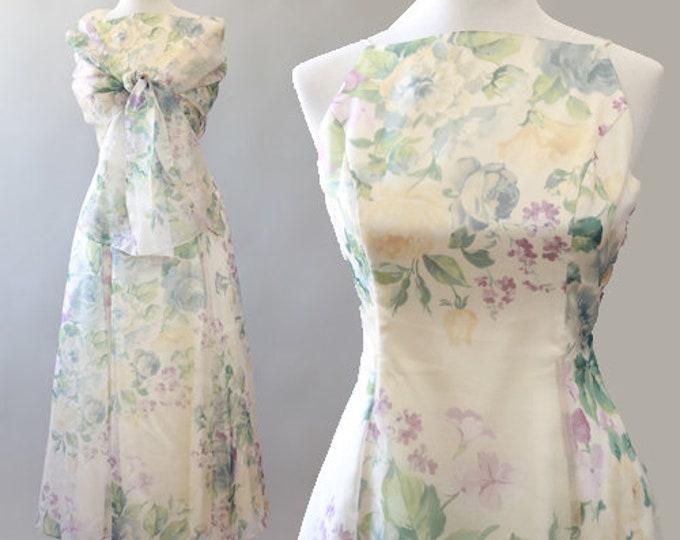Botanical pastel dress   Vintage Jessica McClintock floral wedding dress