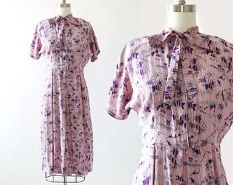 40s Safari silk dress | Vintage 40s silk dress | 1940s novelty print palm tree camel silk dress