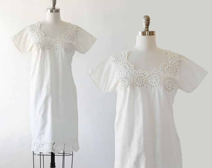 Edwardian cotton Chemise | Antique vintage 1900s cotton slip dress | Embroidered cutout chemise