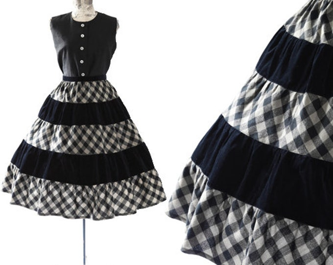 Gingham skirt | vintage 1950s skirt | velvet + wool full skirt