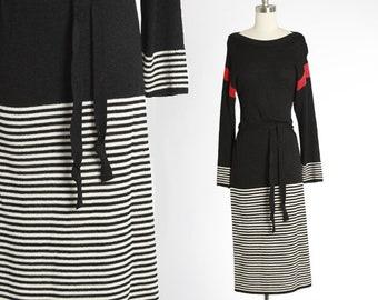 Oscar de la Renta knit dress | Vintage 70s Oscar de la Renta  dress | 1970s striped knit dress