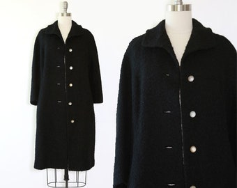 50s black wool coat