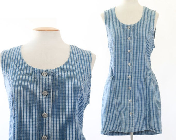 Denim gingham field dress | Vintage 90s Bill Blass dress