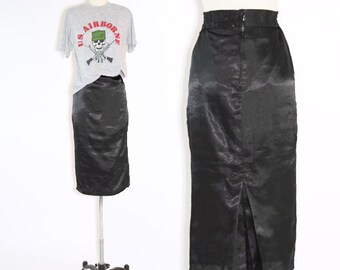 Vintage 40s black high waist skirt XS