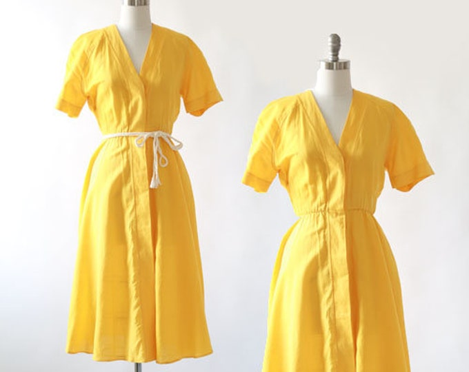 Anthony norman linen dress | Vintage 80s cotton linen midi dress