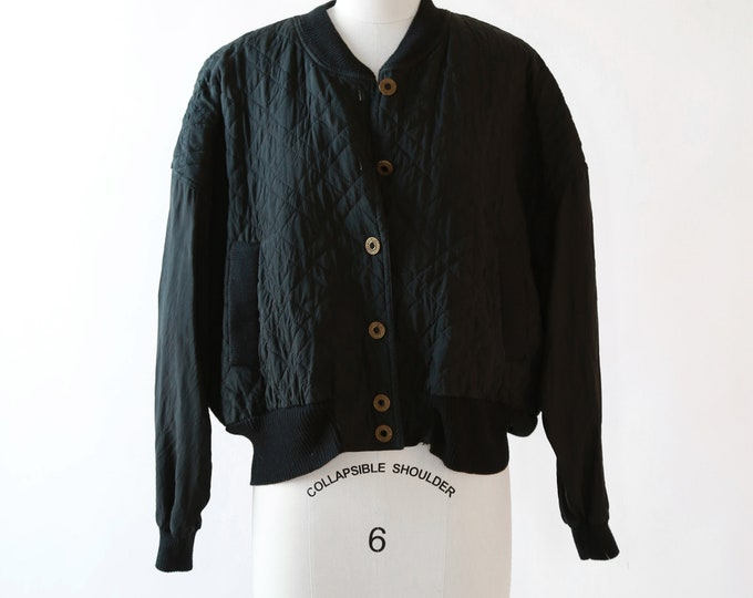 Rayon bomber | Vintage 90s black quilted Bomber jacket