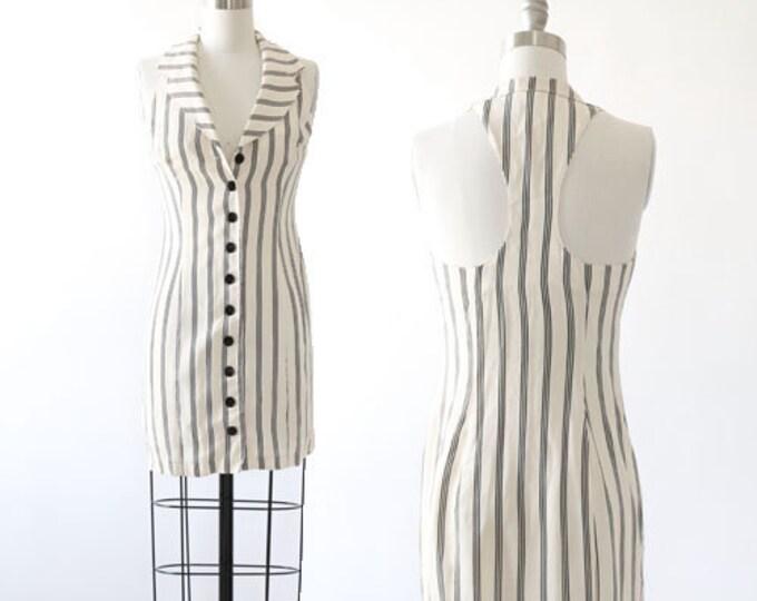 Betsey Johnson razorback dress   Vintage 90s Betsey Johnson striped tuxedo mini dress