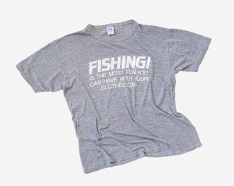 Burnout fishing tee  | Vintage 70s paper thin graphic Fishing T-Shirt