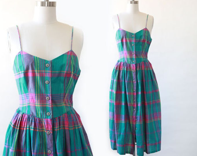 Plaid midi dress | Vintage 90s cotton plaid midi dress S