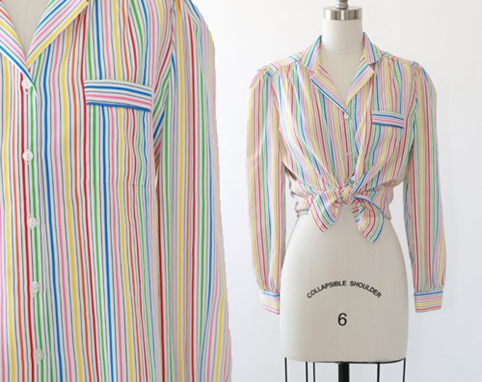 Rainbow striped blouse | Vintage 70s 80s striped Rainbow TOP shirt blouse