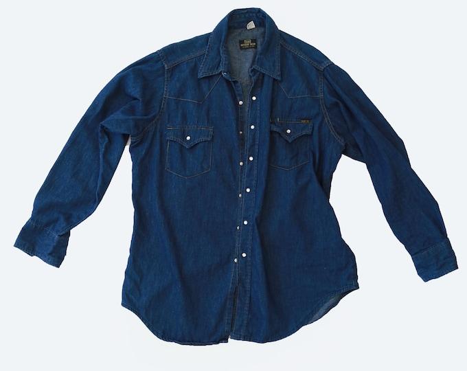 Indigo denim shirt | Vintage 70s Sears western wear denim shirt