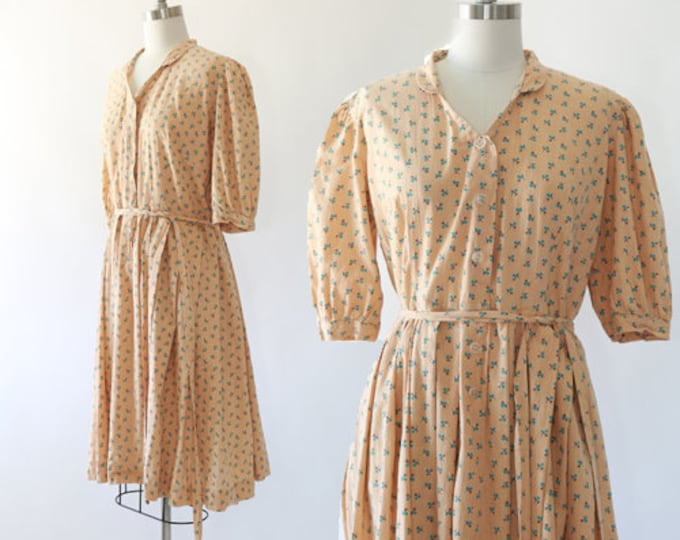 volup 1940s dress | Vintage 40s Plus Size floral cotton day dress | 1940s day dress XL