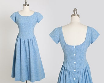 New Look chambray dress | Vintage 50s blue cotton dress | 1950s low back day dress
