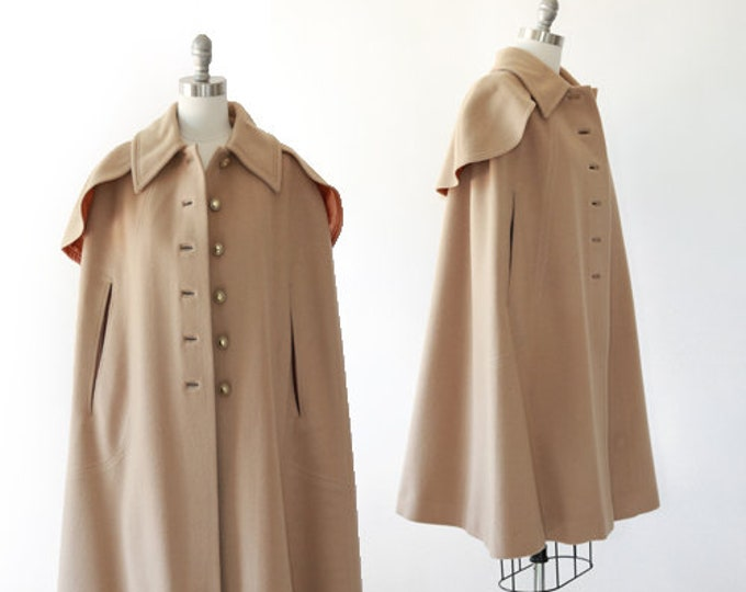 Camel cape coat | Vintage 60s wool cape | Tan wool coat