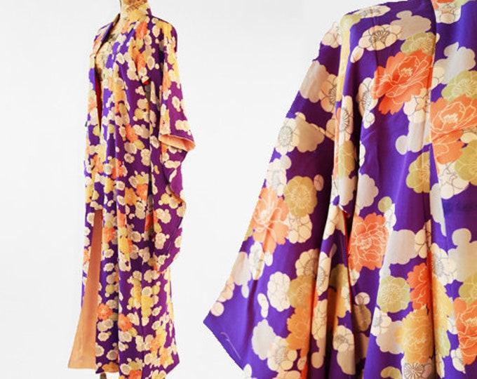 Antique 20s purple SILK floral Japanese KIMONO | wedding Robe | floral kimono
