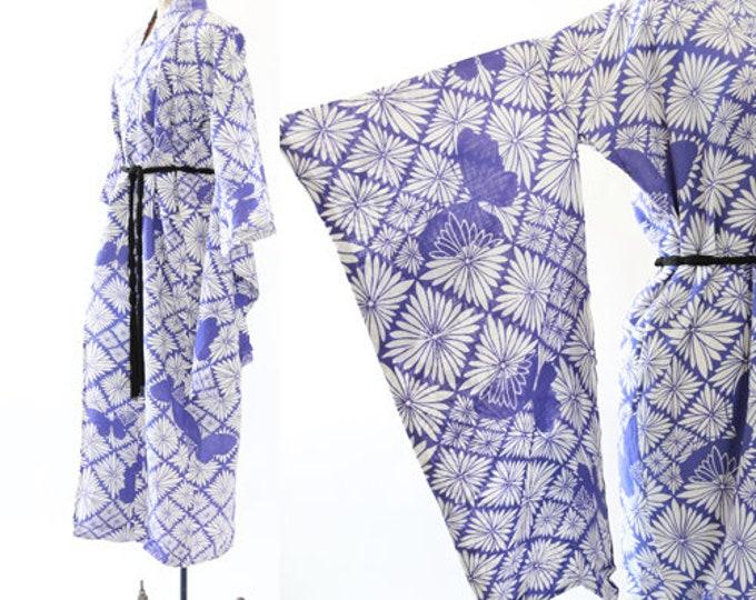 Butterfly Kimono   Vintage 50s cotton floral kimono wrapper