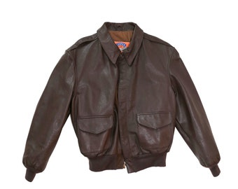Cooper A-2 bomber | Vintage 60s brown leather aviator bomber Jacket 44R | military issue jacket