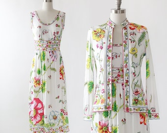 Mauriee floral dress  | Vintage 70s Saks Fifth Ave 2pc floral dress cardigan | Mauriee by C Rizza floral dress